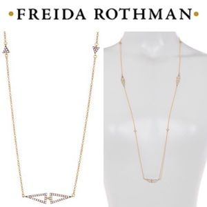 Freida Rothman Gold Pave Arrow Station Necklace